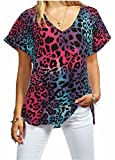 New Ladies Women V Neck Turn Up Short Sleeve Baggy T-Shirt Top Plus Size UK 8-26 (Multi Colour Leopard, XXL 20/22)