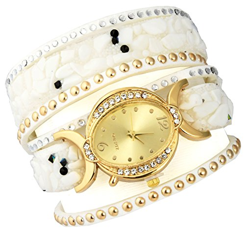 AELO Multiband White Bracelet Watch For Girls & Women