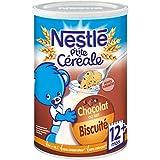 Nestlé Bébé P'tite Céréale Chocolat au Lait Biscuité et Pépites fondantes - Céréales Déshydratées dès 12 Mois - Boîte de 400g - Lot de 4