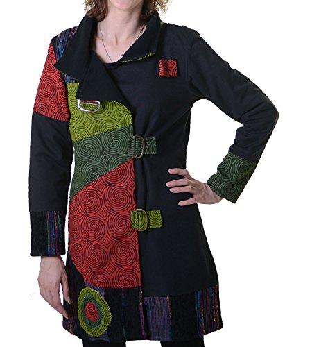 Warmer Patchwork Mantel für Damen aus Baumwolle mit trendigen, bunten Mustern Schwarz