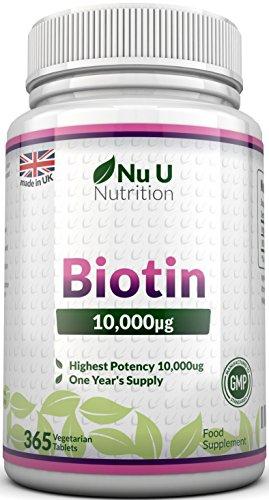 Biotina 10.000 MCG - 365 Comprimidos (Suministro Anual) - Complemento...