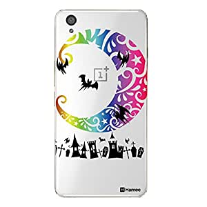 Hamee Designer Cover Thin Fit Crystal Clear Plastic Hard Back Case for OnePlus X (Halloween Moon / Multicolour)
