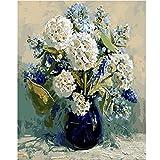 Knncch-X502 Hortensia Blanca DIY Pintura por números Flores Pintado a Mano Enmarcado Cuadro de...