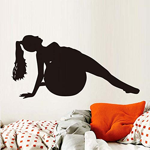 Waofe Frau Fitness Ball Übung Gym Sport Wandaufkleber Yoga Silhouette Klebstoff Wandtattoo Wohnkultur Schlafzimmer Wanddekoration Wandbilder 43 * 86 Cm (Ball übung Cover)