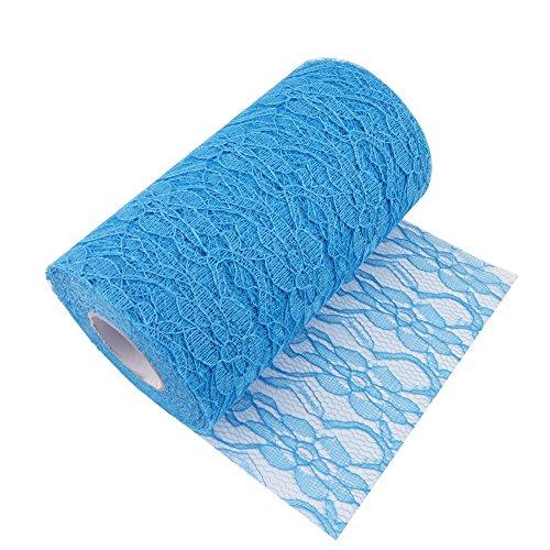 6 Zoll 25 Yard Spitze Tüll Stoff für Hochzeit Dekorative Ribbon Tischläufer Stuhl Dekoration (aqua blue)