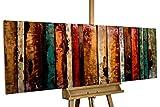 KunstLoft Extravagantes Metallbild 3D 'Flashy Wood' 150x50x5cm | Design Wanddeko XXL handgefertigt | Unikat Wandskulptur | Abstrakt Bunt Holz | Wandbild Relief modern