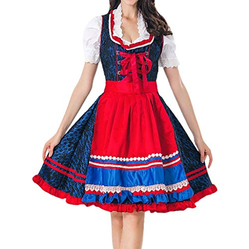 Allence Oktoberfest Damen Kleider Dirndl Kleid Bayerische Bar Maid Party Cosplay Dirndl Traditionelles Minikleid Oktoberfest Karneval KostüM 3 Teilig Set (Bar Maid Kostüm Übergröße)