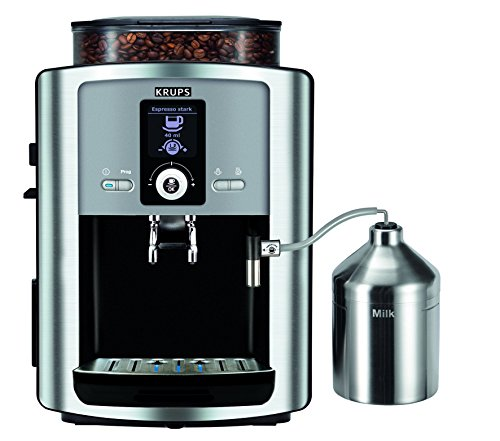 Krups EA8050 coffee maker – coffee makers (freestanding, Coffee beans, Ground coffee, Fully-auto, Cappuccino, Espresso, Latte macchiato, Black, Silver, Espresso)
