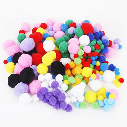 Newin Star, 300pompon di peluche assortiti per bricolage, hobby, fai da te creativo, artigianato, decorazioni, da 4cm, 3cm, 2,5cm, 2cm, 1,5cm