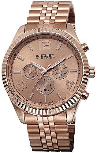 August Steiner Hombre Rose-tone multifunción de cuarzo suizo reloj de pulsera de acero inoxidable