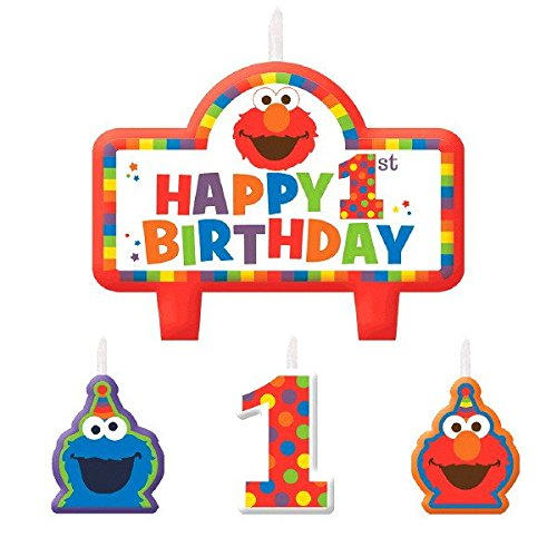 (ELMO 1. Geburtstag Kerzen 4 Zählen Supplies Elmo Sesame Street Fun to Be One.)
