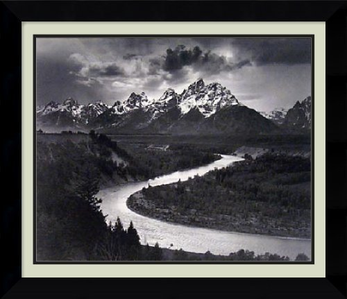 Framed Art Print, 'The Tetons and the Snake River, Grand Teton National Park, Wyoming, 1942' by Ansel Adams: Outer Size 26 x 22 by Amanti Art -
