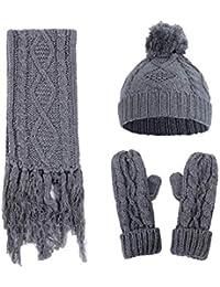f9fc829ff2f8de 3 in 1 Frauen Strickmütze Schal und Handschuhe Set Damen Winter Set Beanie Mütze  Schal und