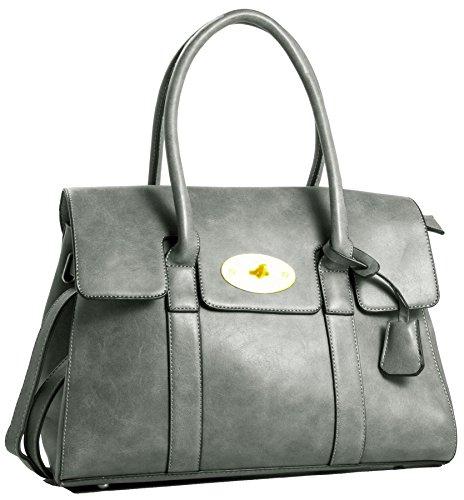 Big Handbag Shop da donna in ecopelle design Boutique Maniglia Superiore Borsa a tracolla Grey
