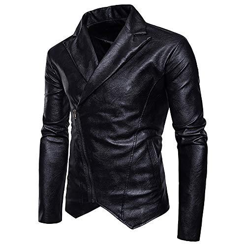 Elecenty Uomo Capispalla Giacca Pelle con Cerniera Diagonale Locomotiva Cappotto da Uomo Cerniera Zipper Jacket Autunno Inverno Outwear