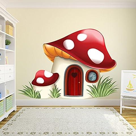 Toadstool House Autocollant mural Fairy Tale Fantasy Sticker Chambre Nursery Décor Disponible en 8 tailles Moyen Numérique