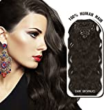 Melodylocks 18 Inch Clip In/on Remy Human Hair Extensions 7 Pieces(pcs), 70g, Wavy #2 Dark Brown by Melodylocks