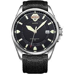 BUREI® Men's Luminous Army Style Outdoor Sports Date Quartz Watch with Canvas Black Strap -Black Silver Dial