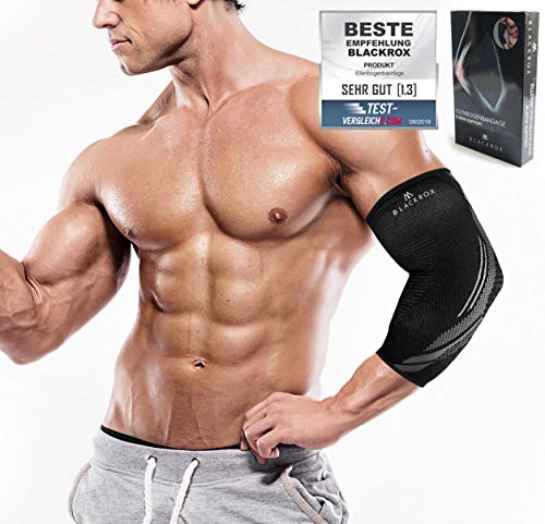 BLACKROX Ellenbogenbandage Vergleichssieger, Tennisarm Bodybulding mit Kompression für Damen & Herren, elastisch, für Fitness Volleyball, Handball, Kraftsport, rechts o. Links (L)