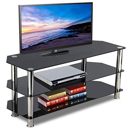 DlandHome HiFi Rack Regal Audio Schrank LCD-/Plasma-TV Rack Glas Tisch Ständer LCD Rack LED Tisch Fernsehtisch Schwarz Glas DREI Ablagen mit Aluminiumbeinen (Schrank Schwarz Tv-ständer)