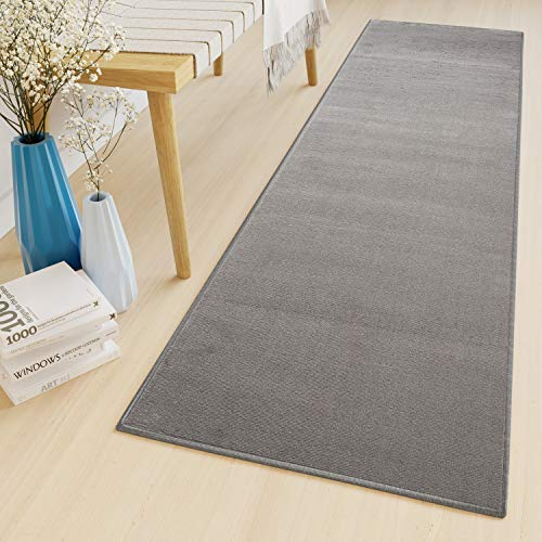 Tapiso Luxury Läufer Teppich Flur Korridor Kurzflor Brücke Schlafzimmer Designer Modern Grau Einfarbig Innenbereich ÖKOTEX 120 x 50 cm - Teppich Über 50 Läufer