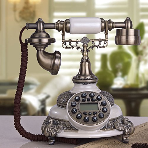 Motesuvar Antikes Telefon - Festnetzanschluss Haushalt Ornamente Retro - Europäische Hochwertige Weiße Telefon,Schwarze Hand Blue Screen Caller Id Display Screen Caller Id
