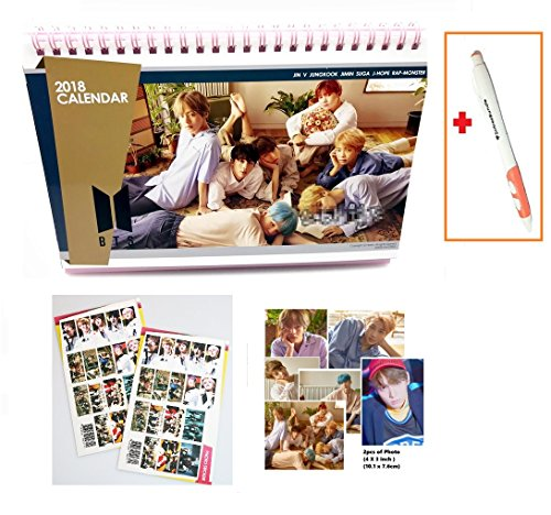 BTS Bangtan Boys 2018 2019 year desk Calendar with Extra photo and Stickers + SoltreeBundle Ballpoint Pen(Black) (Logo Chain Wallet)