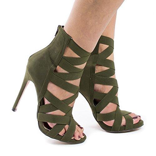 Pattini di vestito Passerella scarpe sandalo sandali del partito Army green