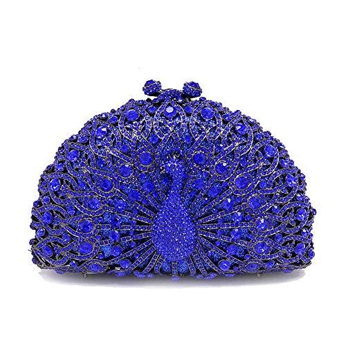 jx-bags Diamant-verkrustete Abendtasche Pfau-verkrustete Strass Abendkleid Tasche Damen Kleid Handtasche personalisierte Geschenk @ 蓝