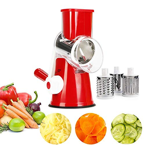 NOBGP Käseregser Rotary Handheld Gemüse-Slicer Rotary Drum Grater 3-Blades Manual Mandoline Edelstahl Chopper mit Saugcup Feet Fruit Cheese Shredder,Red Handheld Mandoline Slicer