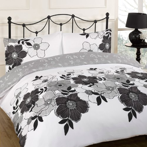dreamscene pollyanna floral design duvet cover bedding set black king