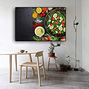 EBONP Leinwanddruck Plakat Leinwand Malerei Wand dekorative Getreide Gewürze Pfanne Küche Gemüse Obst Leinwand Malerei…