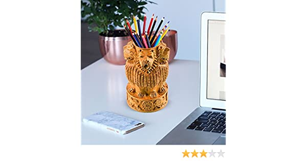 Box Stand Case Organizers Holder For Fine Craft India Beautiful Natural Wood With Fine Carving Ashoka Emblem Shape Design Wooden Decorative 5 Pencils Pen| Desk Notebook