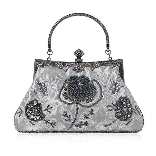 Dabixx Vintage Style Perlen Floral Abend Clutch Bag Hochzeit Prom Handtasche Handtasche Grau