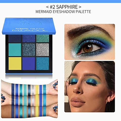 Ombre à Paupières Cosmétique Maquillage 9 Couleur Palette de Poudre de Fard à Paupières Pearl Glitter Mat audacieuse Pas cher (Bleu)