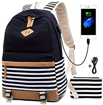 Canvas Backpack School Bags set for Teens Girls School Backpack with ... 4c375cb3e1