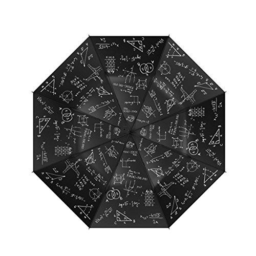 JAYLONG Travel Umbrella 8 Ribs Chalk and Formula Robusto portátil de acero inoxidable de construcción de secado rápido paraguas plegable impermeable para mujeres, hombres, niños y niños