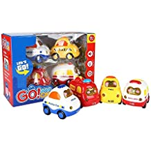SainSmart Jr. Coches y camiones de juguete 4 Conjunto Push and Go Mini coches, Fricción, Botón De La Pantalla De Luz Y Música, Coche De Policía, Coche De Bomberos, Ambulancia,