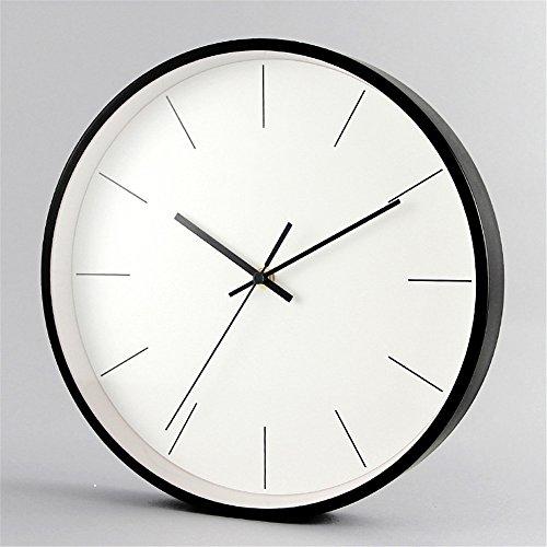 Wall Clocks Wanduhr Uhren Wecker Uhr Haushalt Pendeluhr Metallwaage rund leise nicht tickend batteriebetrieben 12 Zoll einfach zu lesen Wohnzimmer Esszimmer Café und Bar Eisen Schlafzimmer Uhr schwarz - Toskana-altes Eisen