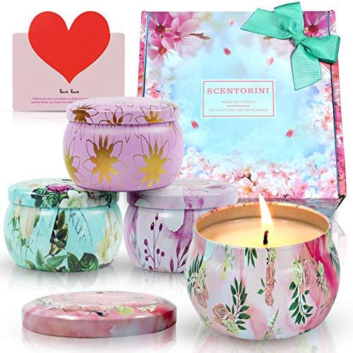 SCENTORINI Duftkerze Aroma Kerzen Naturwachs in Dose 4er Duftkerzen Geschenkset, Duft von Pfingstrose, Zimtapfel, Lavendel und Rose, 120Std