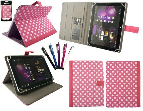 emartbuy 5 Eingabestift+Universalbereich Polka Dots Hot Rosa/Weiß Folio Wallet Tasche Etui Hülle Schutzhülle mit Kartensteckplätze Geeignet für i.onik Tablet PC TP9.7-1500DC Ultra 9.(7 Zoll)