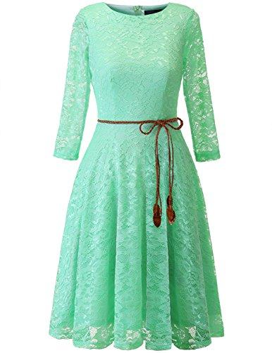 Bridesmay Damenkleid 3/4 Ärmel Elegant Floral Spitzenkleid Cocktailkleid Mint - Frauen Für Mint Grün-kleid