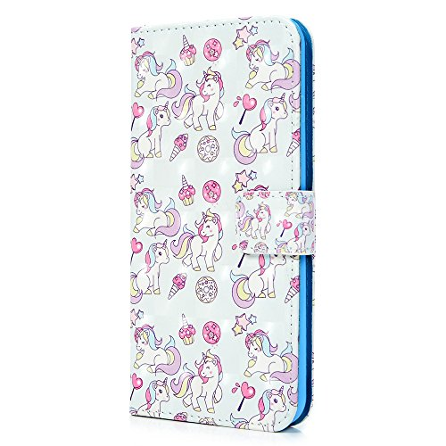 Coque iPhone 7 Plus / iPhone 8 Plus Mavis's Diary Étui Housse en PU Cuir + TPU Silicone Gel Bumper Coque de Protection Étui à Rabat Flip Phone Case Cover Antichoc Portefeuille Fente de Carte 5.5'' pou licorne