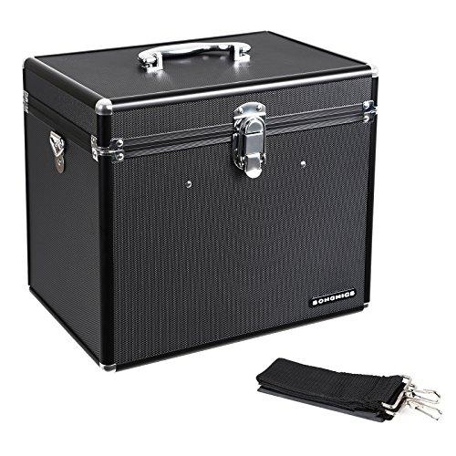 Songmics Reise-Kosmetikkoffer großräumiger Schminkkoffer beauty case Schminkbox Multikoffer mit Spiegel geschenkter Pinselbehälter schwarz JBC320B