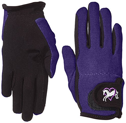 Riders Trend Damen Reiter Handschuhe Reithandschuhe Amara Palm mit Elastan-material Atmungsaktive Black/Purple, CL