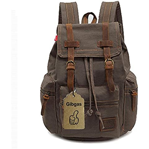 gibgas Mujer Hombre Vintage Mochila de lona retro Mochila Escolar Backpack para estudiantes Uni Viaje Outdoor Sports Tiempo Libre con gran capacidad 42cm (L) x28cm (H) x16cm