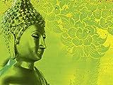 Artland Qualitätsbilder I Glasbilder Deko Glas Bilder 80 x 60 cm Fantasy Mythologie Religion Buddhismus Foto Grün A7RM Buddha Goldstatue Thailand