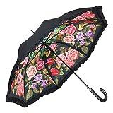 VON LILIENFELD® Regenschirm Automatik Damen Motiv Double-Layer Wellenkante Rosengarten