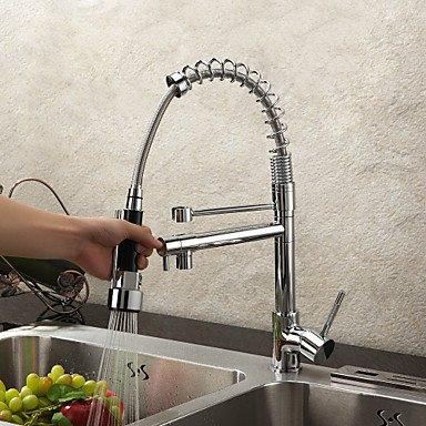 Shuyou® Laiton massif Printemps robinet de cuisine avec deux becs–fini chrome