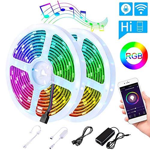 LED Strip 10m(5m*2), LEDGLE WIFI LED Streifen SMD 5050 mit Timer, IP65 Wasserdicht LED RGB Lichtband Bänder Selbstklebende Lichtleiste für Aussenbereiche, RGB Led Band für Haus, Garten, Weihnachten